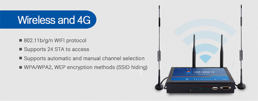 4G LTE Router USR-G800 V2 has strong WiFi signal and accepts to 24 STA access.
