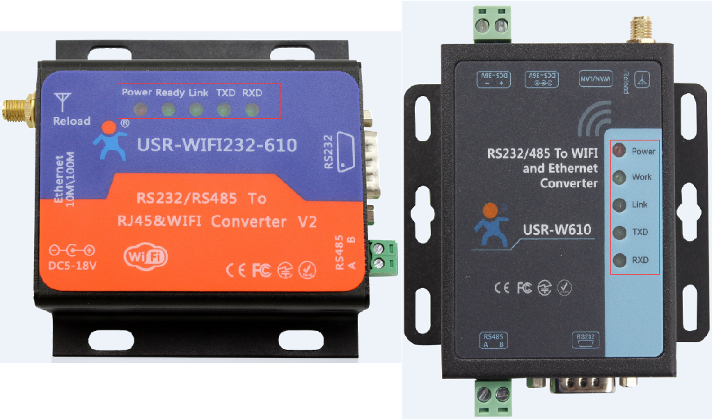 USR-W610 and USR-WIFI232-610 V2 LED diagrams and LED functions