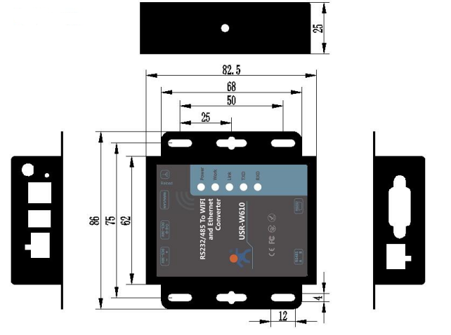 Dimensions of serial to WiFi Converter USR-W610