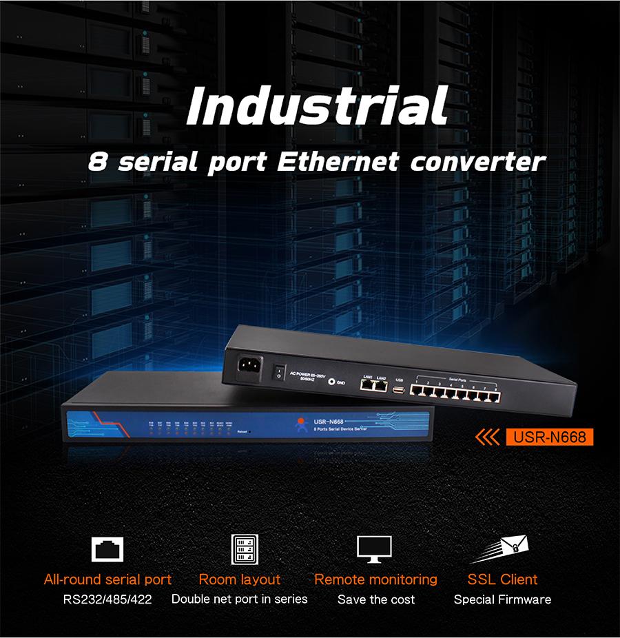 8 port serial to Ethernet converter USR-N668