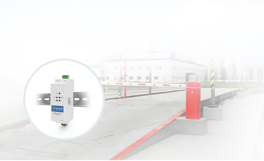 Application of Din rail RS232 serial to Ethernet converter USR-DR301: Unattended Weighing