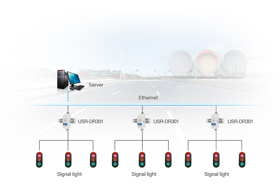Application of Din rail RS232 serial to Ethernet converter USR-DR301:Traffic Lights Management System
