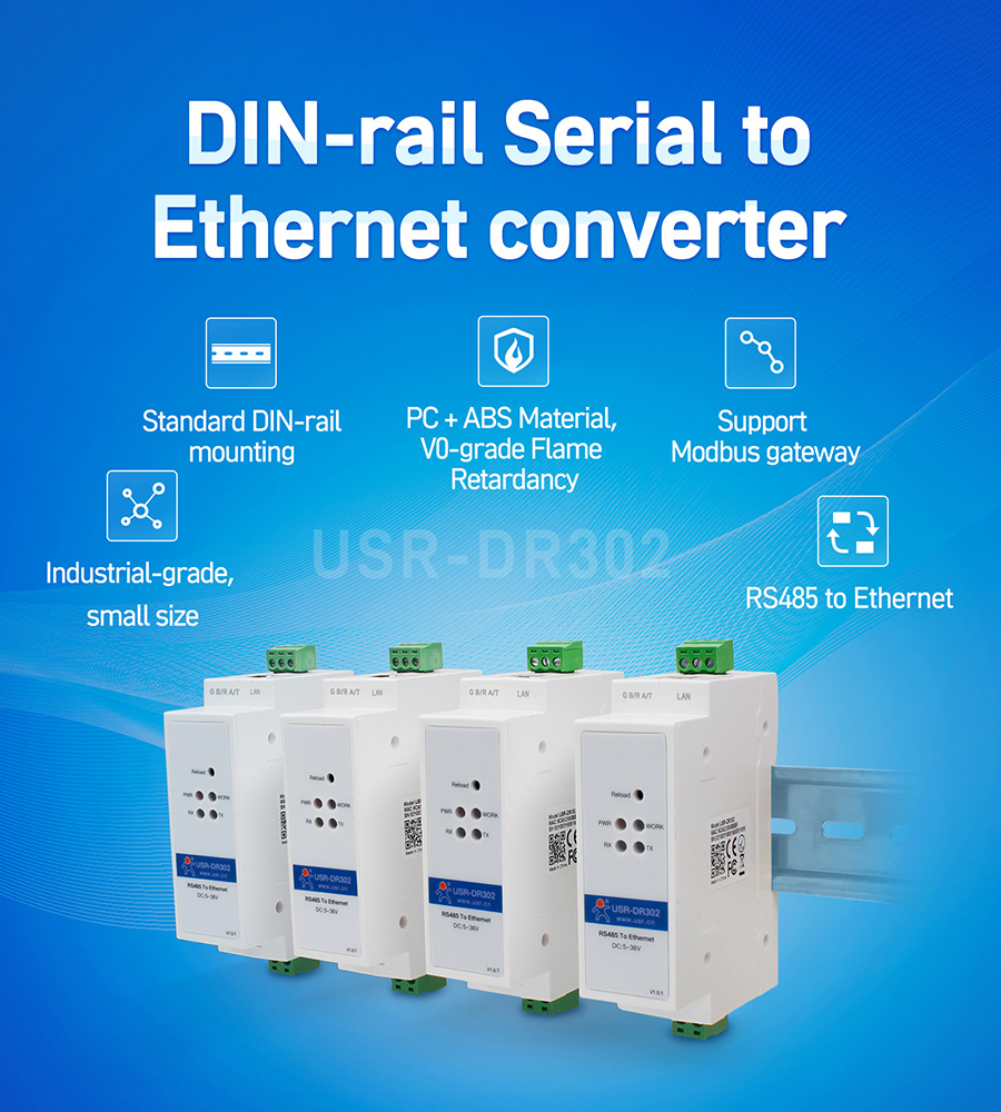 DIN-rail RS485 serial to Ethernet converter USR-DR302
