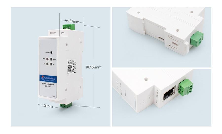 din-rail-serial-to-Ethernet-converter-dr-302
