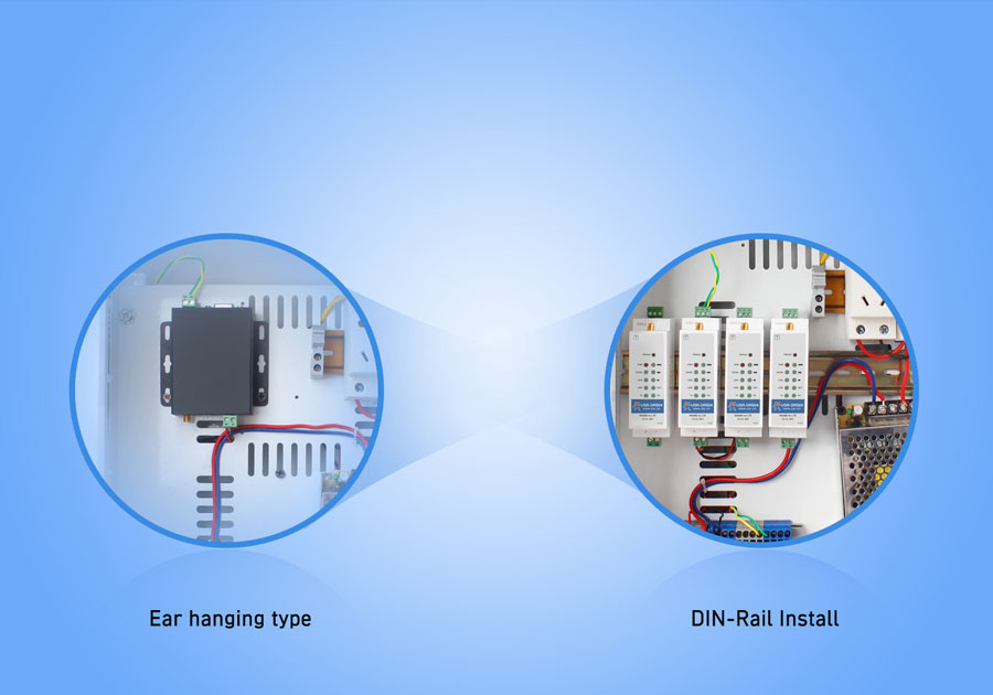 Din rail mounted RS485 industrial modems USR-DR504-G: DIN-rail mounting