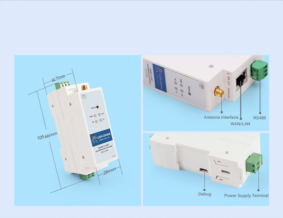 Product Detail Of WIFI serial device server USR-DR404
