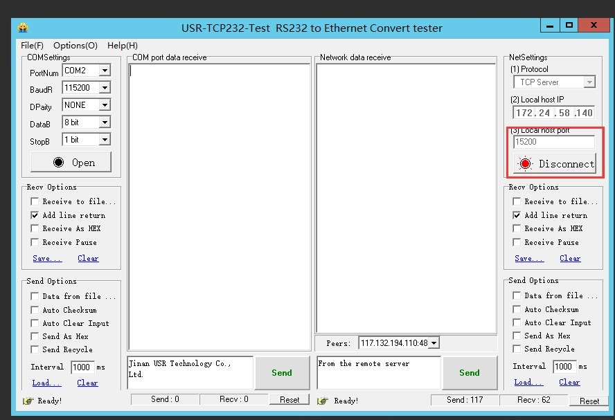 USR-DR504 connects to a remote server, open a listening port in the remote server