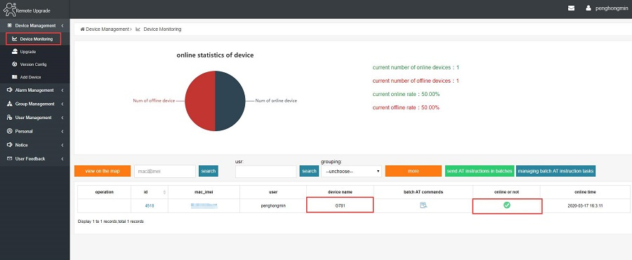 see the online device in Device Monitoring