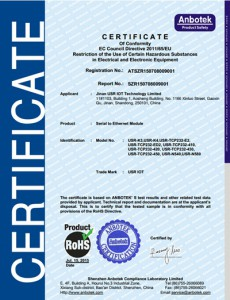 M4 Series and K3 RoHS Certificate