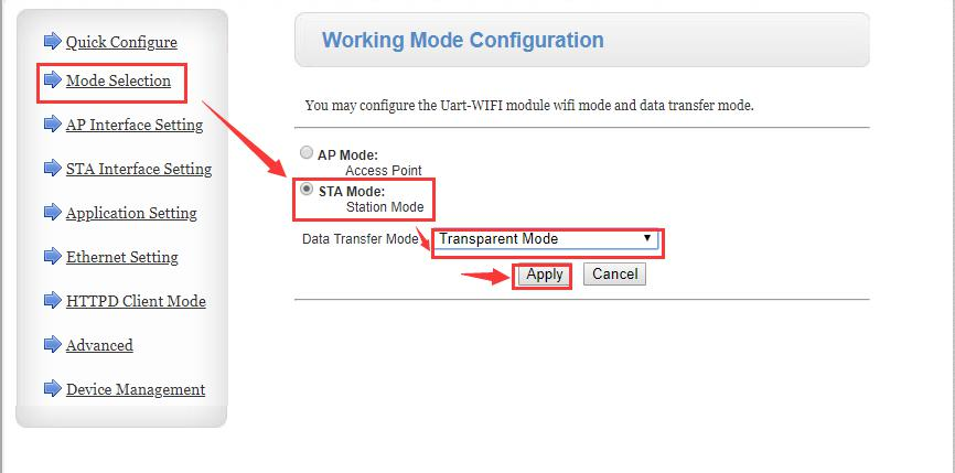 "Change the work mode to STA. Click ""Apply"""
