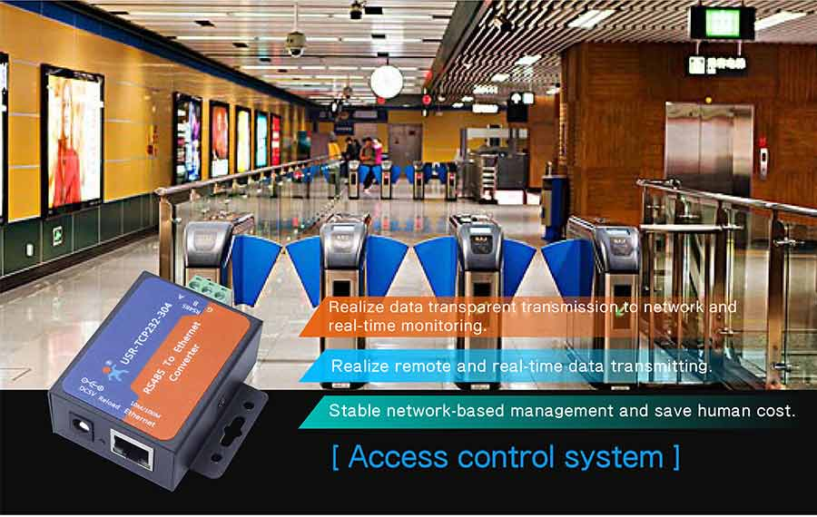application of ethernet to rs485 converters: access control system